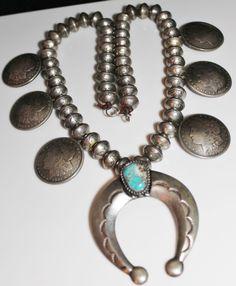 Vintage Navajo Mercury Dime Morgan Dollar Turquoise Silver Squash Blossom Coin Necklace 482.4 Grams