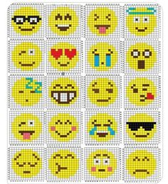 melting beads keychains with emoji patterns Loom Beading, Beading Patterns, Crochet Patterns, Loom Patterns, Motifs Perler, Perler Patterns, Pixel Crochet, Crochet Chart, C2c Crochet