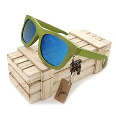 Lime Bamboo Polarized Sunglasses