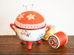 Upcycled Vintage Ceramic Pincushion - Hand Painted & Needle Felted £12.99