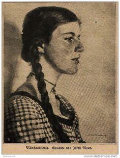 """Mädchenbildnis (Jakob Mann)   -  Druck , entnommen aus """"Die Gartenlaube """", 1920"""