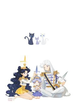 Sailor Moon - Artemis x Luna & Diana - Moon Cats Sailor Moon Manga, Sailor Moons, Sailor Jupiter, Sailor Moon Fan Art, Sailor Venus, Diana Sailor Moon, Sailor Scouts, Fanarts Anime, Manga Anime