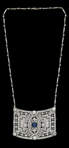 An Art Deco platinum, white gold, diamond and sapphire necklace, first third of the 20th century.