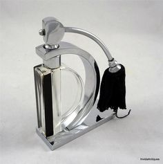 1920 30s Art Deco Perfume Bottle Black Enamel Chrome Stand Bohemian or French | eBay