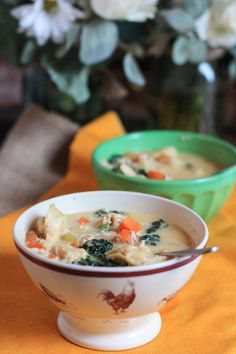 creamy chicken tortellini soup.  I would substitute evaporated milk for the cream, but otherwise looks yummy!