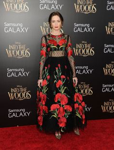 Emily Blunt in a sheer black lace dress covered with red roses from Dolce & Gabbana Spring 2015 collection at the New York Premiere of Into the Woods