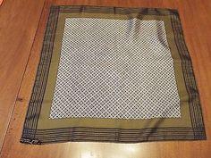 Vintage  ASHEAR Men's Silk Pocket/ Lapel Scarf Olive abd Black  Made in Italy