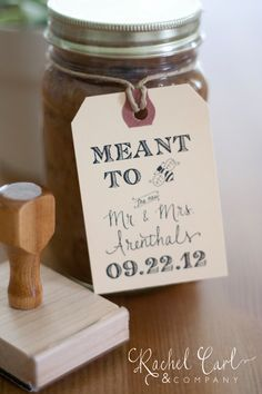Meant to Bee Wedding Favor Tags Shower Favor Vintage Wedding Custom Personalized Calligraphy Stamp for Honey Jars or Wedding Treats