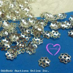 150 Shiny Silver tone Bead Caps