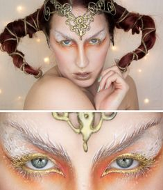 DIY Inspiration: Horned Golden Princess Makeup by Sandra Holmbom. There is no tutorial but what intrigued me about this photo was the use of long hair as horns. They actually look more organic and more sinister to me. Also, pretty positive the...