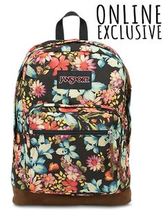The new JanSport Multi Garden Delight Right Pack Expressions backpack features a laptop sleeve and the signature suede leather bottom.