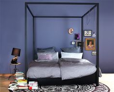 bedroom with dark wall --- Grey colors for a boys room... Without the rug? And the top frame...