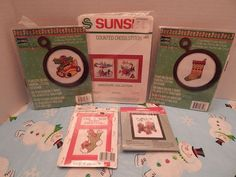 Crafts Cross Stitch lot of 5 small ornament frame sealed Christmas holiday  #mixed #Frame