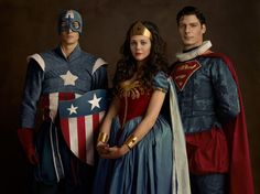 This is so weird. I don't know what is more jarring the fact that Capt. America is with Wonder Woman and Superman or that the folks representing WW and Superman look so spot on like their 70's actors while Cap looks like a scrub.