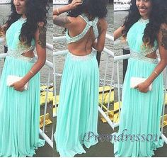 Pretty green chiffon prom dress, ball gown, 2016 beaded hollow out long evening dress for teens #coniefox #2016prom