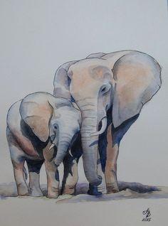 Elephants Original watercolor painting by BeautifulpictureART - Tattoo MAG Pencil Art Drawings, Animal Drawings, Cute Drawings, Elephant Tattoos, Elephant Art, Elephant Family, Watercolor Animals, Watercolor Paintings, Abstract Paintings