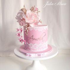 Elegant Lace Baptism Cake - Cake by Julia Marie Cakes