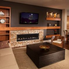 Electric fireplace wall unit units with fireplaces designs built into . electric fireplace wall unit mount in black built Family Room Design, Game Room Basement, Fireplace Design, Family Room, Linear Fireplace, New Homes, Basement Decor, Basement Remodeling, Basement Fireplace