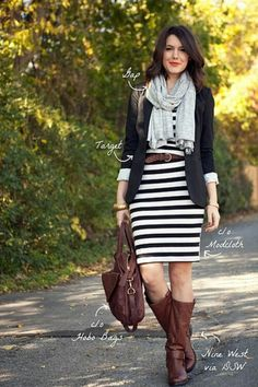 Striped dress + brown leather boots + blazer