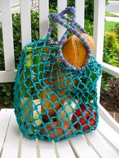 Turquoise Macrame Market Bag by ByHandShop on Etsy