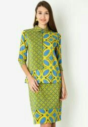Indonesian Batik blouse and skirt lime green and blue combination