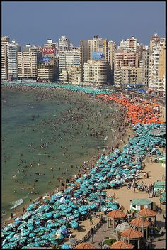 The Mediterranean coast in Alexandria, Egypt
