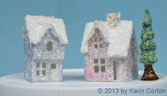 Tiny glitter houses and tree created by Karin Corbin