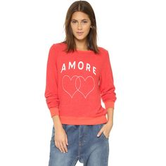 Designer Clothes, Shoes & Bags for Women Red Long Sleeve Tops, Beach Tops, Sweater Shirt, Hoodies, Sweatshirts, Wildfox, Graphic Sweatshirt, Hearts, Women
