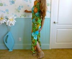 70's Hawaiian Floral Maxi Gown With Pocket // Alice by LexAndLos, $47.00