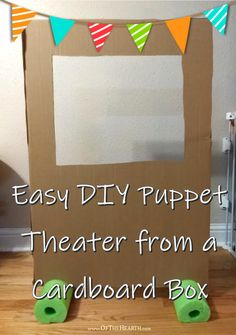 Easy DIY Puppet Theater from a Cardboard Box Easy DIY Puppet Theater from a Cardboard Box<br> Use a piece of cardboard and a pool noodle to make a puppet theater! This simple structure will provide hours of entertainment for your kids. Large Cardboard Boxes, Cardboard Box Crafts, Cardboard Box Ideas For Kids, Cardboard Castle, Cardboard Playhouse, Cardboard Toys, Cardboard Furniture, Paper Toys, Diy For Kids