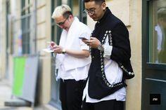 Mens wearing a Comme Des Garçons jacket during Paris Fashion Week Spring Summer 2017