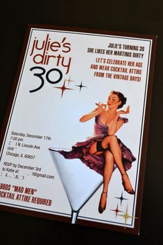 Items similar to Dirty 30 Pin-Up Vintage Glam Birthday Party Invitation on Etsy 30th Party, 30th Birthday Parties, Birthday Party Invitations, 30 Birthday, Birthday Ideas, Vintage Glam, Vintage Theme, Party Planning, Party Time