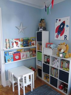 Reading corner / toy storage / play desk area in toddler bedroom
