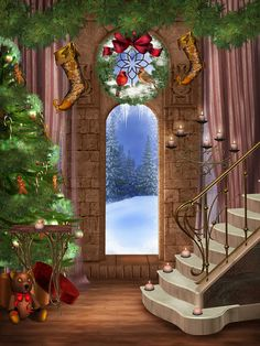 Archy Door Christmas Tree Staircase Photo Background Photo Studio Props Christmas Vinyl Backdrops for Photography Studio Background Images, Photo Background Images, Background For Photography, Photography Backdrops, Photo Backgrounds, Newborn Photography, Digital Backgrounds, Photography Backgrounds, Christmas Vinyl