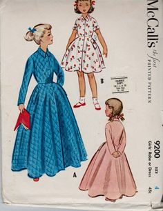 McCall's 9200 Little Girls Party Dress or Dressing Housecoat Robe Vint | VintageStitching.com