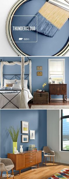 Add sophistication to your home by incorporating Thundercloud into your bedroom, kitchen, or entryway. This deep blue BEHR Paint color will look great on an accent wall or a bedroom for a pop of color. #TrueToHue