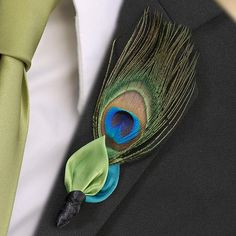 Peacock Feather Buttonhole
