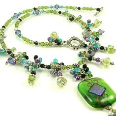 "Lime & Purple ""Queen's Cascade"" - Fully Beaded Dichroic Fused Glass Statement Necklace-OOAK"