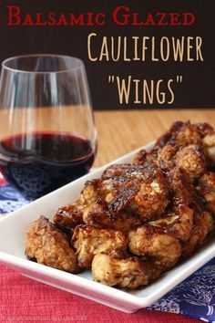 "These Balsamic Glazed Cauliflower ""Wings"" are a delicious alternative for your vegetarian friends! Try them out at your next game day party."