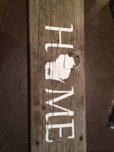 2nd project I made from the cameo! HOME on old barn wood, silhouette cameo stencil and painted on