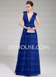 Evening Dresses - $156.29 - A-Line/Princess V-neck Floor-Length Chiffon Sequined Evening Dress With Ruffle (017019737) http://jjshouse.com/A-Line-Princess-V-Neck-Floor-Length-Chiffon-Sequined-Evening-Dress-With-Ruffle-017019737-g19737