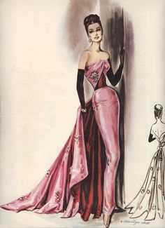 Fashion Illustration Vintage Evening Gowns 53 Ideas For 2019 Vintage Evening Gowns, Vintage Gowns, Vintage Outfits, Vintage Pink, Look Fashion, Trendy Fashion, Fashion Art, Fashion Design, Fashion Illustration Vintage