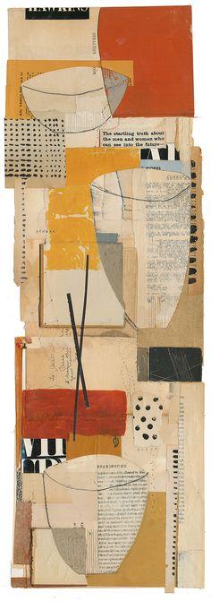 "Melinda Tidwell - ""150120: Vessels 11"", 28H x 10W"", book collage on paper"