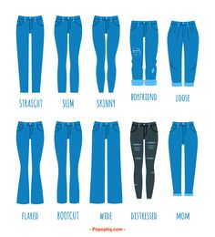 12 Types of Blue Jeans for Women - Women Jeans - Ideas of Women Jeans - Chart setting out types of womens' jeans Fashion Terminology, Fashion Terms, Denim Fashion, Look Fashion, Fashion Outfits, Fashion Glamour, Ad Fashion, Street Fashion, Girl Fashion