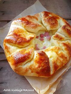 rustic bread with ham and cheese - looks so good