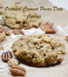Oatmeal Coconut Pecan Date Cookies – Loree the Domestic Diva Coconut Pecan Cookie Recipe, Oatmeal Coconut Cookies, Butter Pecan Cookies, No Flour Cookies, Coconut Recipes, Cookie Recipes, Dessert Recipes, Date Cookies, Chip Cookies
