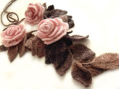 "Freeform crochet lariat scarf with flowers and leaves dust pink brown ""Dust Roses"". $42.00, via Etsy."