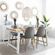 Una mesa de estilo nórdico, acabada en hierro pintado en blanco y madera natural. Pine Dining Table, Reclaimed Wood Dining Table, Industrial Dining, Modern Dining Table, Dining Chairs, Dinner Room, Dining Room Design, Rustic Design, Home Living Room
