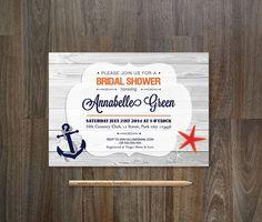 Nautical Bridal Shower Invitation Printable by tranquillina