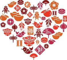 Vector Art : Chinese New Year Icons in Heart Shape
